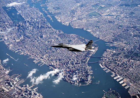A Boeing F-15 over New York City
