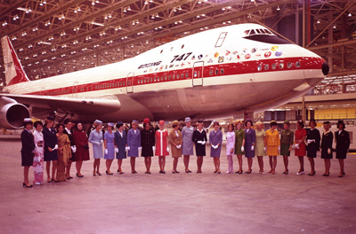 Stewardesses from all the 747's customers celebrate its roll-out in September 1968