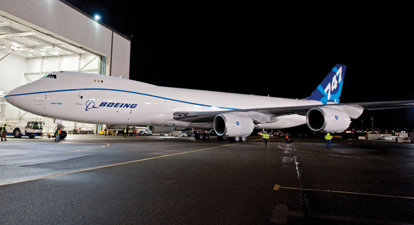 On the move: the first 747-8 left the paint hanger in November 2009, and is now almost ready to fly